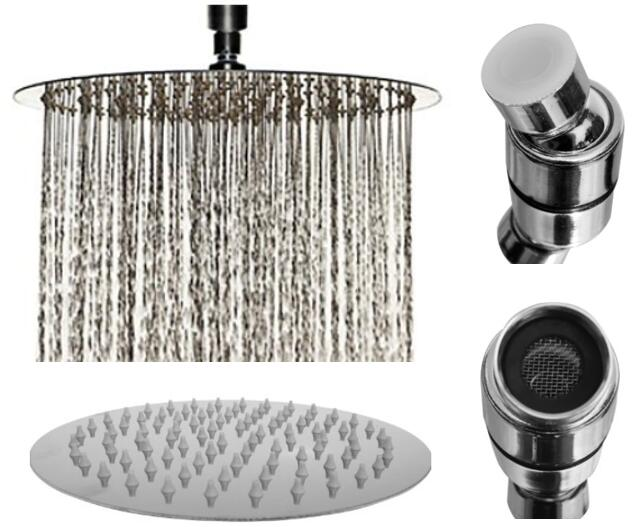 8 Inch Chrome Rainfall High Pressure Shower Head - 2.5 GPM Low Flow Rate Fixed Waterfall Showerhead