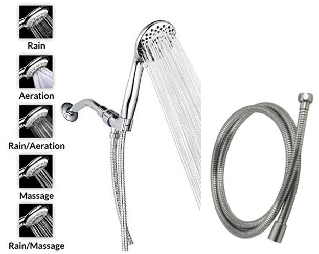 A-FlowTM 5 Function Luxury 4 Handheld Shower Head System