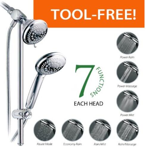 DreamSpa® Instant-Mount Drill-Free Height Angle Adjustable 36-Setting 3-Way Massaging Shower Head