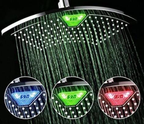DreamSpa AquaFan 12 inch All-Chrome Rainfall-LED-Shower-Head with Color-Changing LED LCD Temperature Display