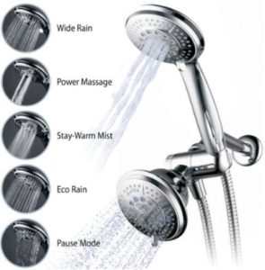 Hydroluxe Full-Chrome 24 Function Ultra-Luxury 3-way 2 in 1 Shower-Head Handheld-Shower Combo
