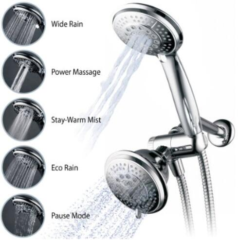 Hydroluxe Full-Chrome 24 Function Ultra-Luxury 3-way 2 in 1 Shower-Head Handheld-Shower Combo system