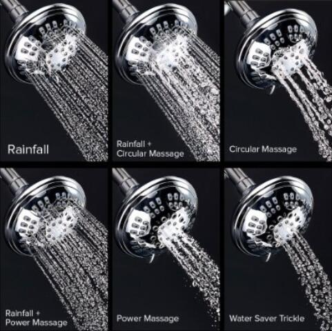 ShowerMaxx® Provides High Pressure with 5 Settings + Water Saver Mode Built with Chrome Finish Includes Self-Cleaning Silicon Nozzles