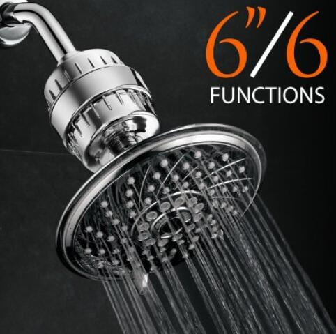 Ultra-Luxury 6 Setting 6 Inch Rainfall Shower Head and Universal High Performance 2 Stage