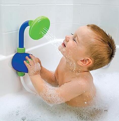 washing kids with dual shower heads