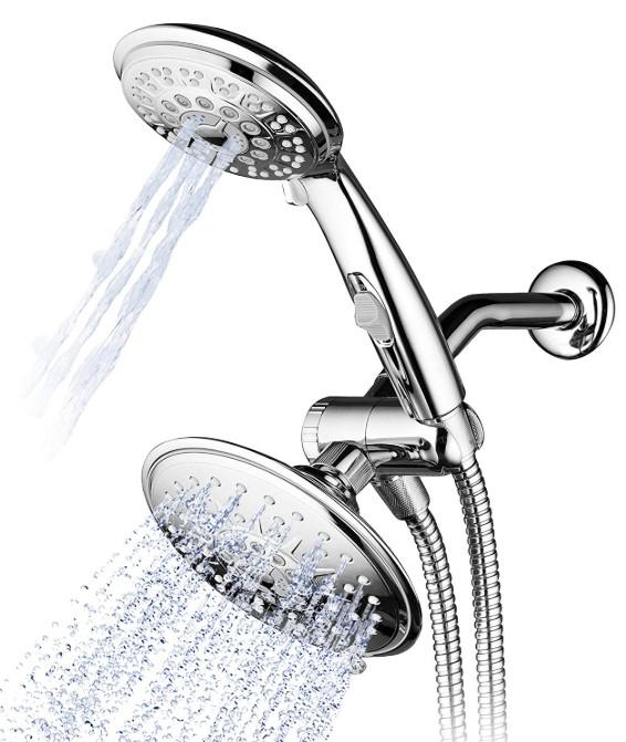 dual rainfall shower head with handheld